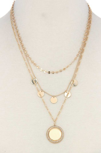 Metal circle charm multi layered necklace-id.cc50626