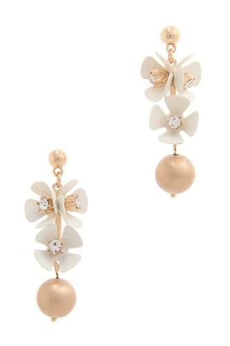 Flower metal bar post drop earring-id.cc50628