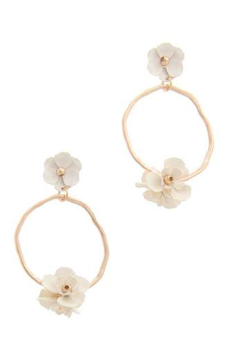 Flower circle post drop earring-id.cc50630