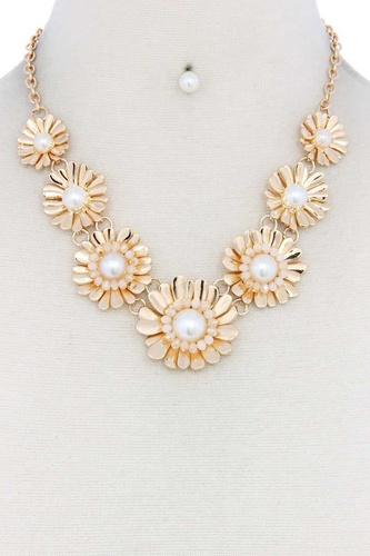 Metal flowers linked necklace-id.cc50638