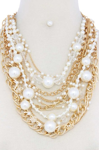 Chunky pearl metal layered necklace-id.cc50639