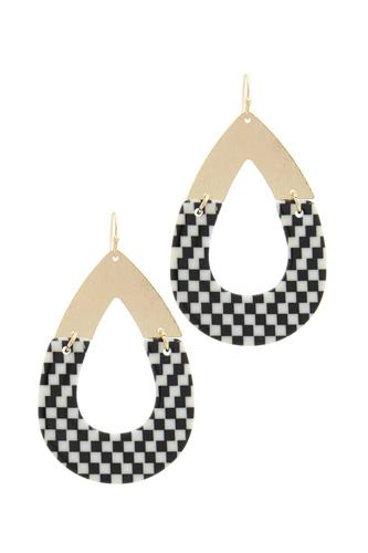 Half metal half pattern teardrop shape earring-id.cc50641