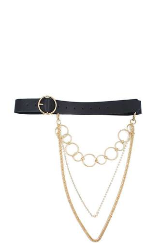 Fashion round buckle belt with triple layer chain accent-id.cc50649