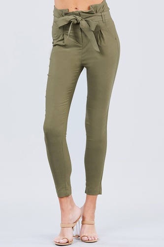 High waisted belted pegged stretch pant-id.cc50664