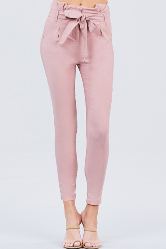 High waisted belted pegged stretch pant-id.cc50664b