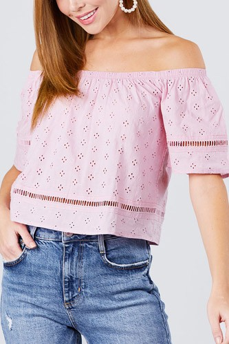 Elbow sleeve off the shoulder lace trim eyelet detail woven top-id.cc50666a
