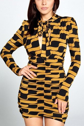 Long sleeve front tie mini dress-id.cc50667
