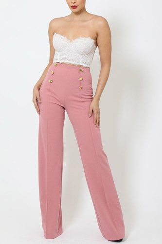 High-waist crepe pants with buttons-id.cc50682