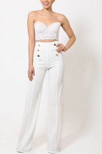 High-waist crepe pants with buttons-id.cc50682c