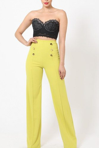 High-waist crepe pants with buttons-id.cc50682d