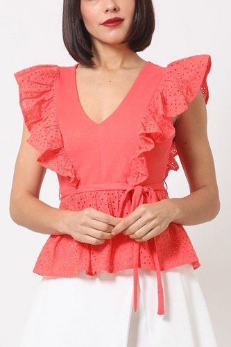 Crotchet peplum top w/ self -front tie-id.cc50683b