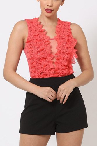 Crotchet bodysuit w/front ruffles and small mesh details-id.cc50685a
