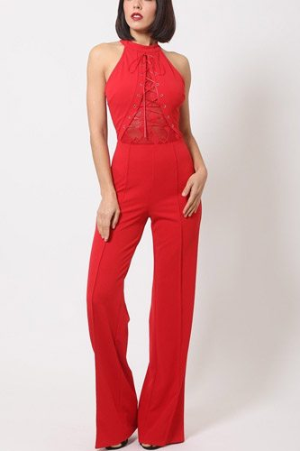 Halter neck jumpsuit w/ criss cross front tie designs-id.cc50686b