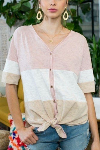 Short sleeve front tie button down color block knit top-id.cc50690