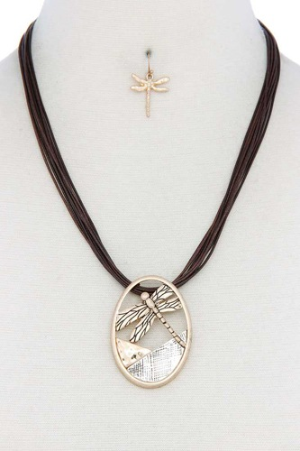 Dragonfly oval pendant pu leather necklace-id.cc50705