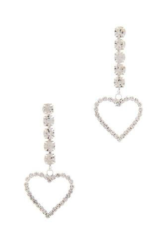 Rhinestone heart dangle drop earring-id.cc50707