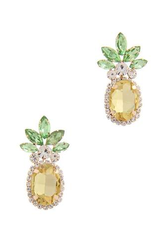 Rhinestone pineapple drop earring-id.cc50709