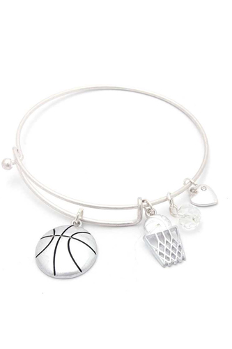 Basketball charms inspirational bangle bracelet-id.cc50712