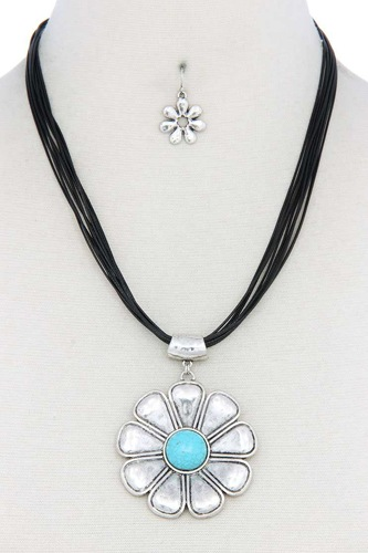 Flower pendant pu leather necklace-id.cc50717