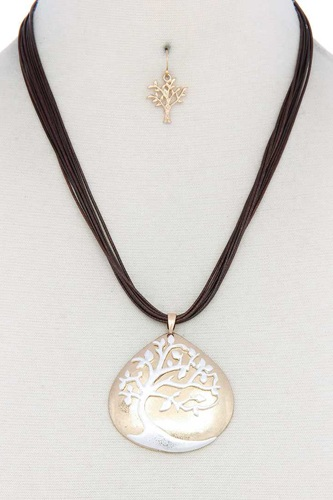 Oak tree pendant pu leather necklace-id.cc50718