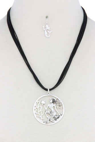 Mermaid pendant pu leather necklace-id.cc50719