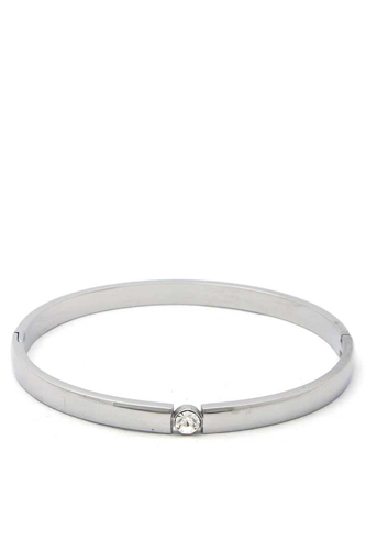 Cubic zirconia stainless steel bangle-id.cc50820