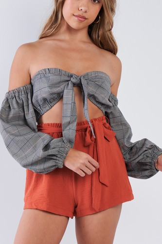 Plaid center bow off-the-shoulder crop top-id.cc50828a