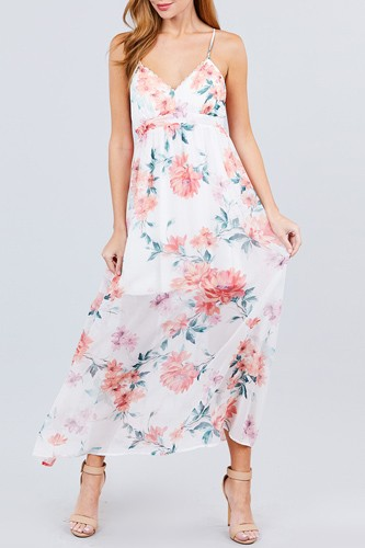 Deep v-neck w/cross strap print maxi dress-id.cc50832