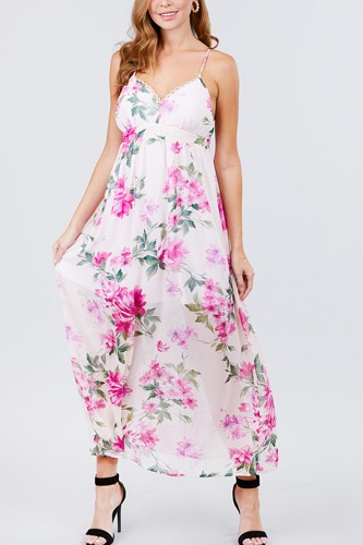 Deep v-neck w/cross strap print maxi dress-id.cc50832a