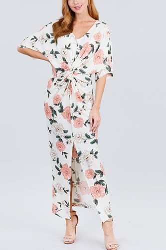 Short dolman sleeve v-neck front knot and slit print knit long dress-id.cc50833a