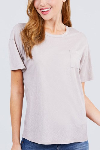 Short sleeve round neck one pocket box knit top-id.cc50834d