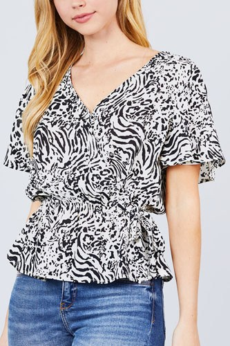 Ruffle short sleeve v-neck surplice side ribbon tie woven top-id.cc50836a