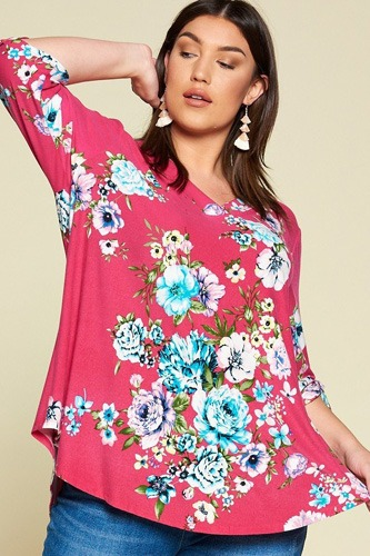 Plus size spring floral printed high low, v neck fashion swing top-id.cc50839a