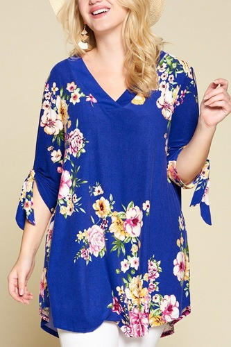 Plus size spring floral printed high low, v neck fashion swing top-id.cc50839b