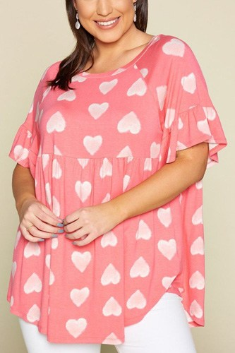 Plus size cute adorable heart jersey babydoll tunic top-id.cc50841b