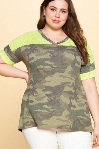 Camouflage printed loose-fit knit top-id.cc50843