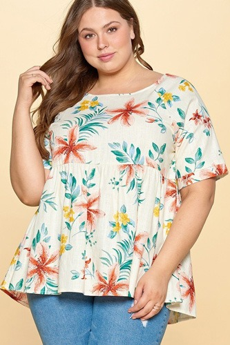 Floral printed linen babydoll blouse-id.cc50844