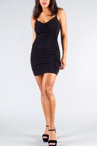 Spaghetti strap gathered front ruched all over mini dress-id.cc50847a