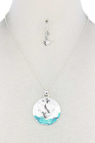 Anchor round pendant necklace-id.cc50866