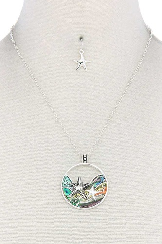 Starfish round pendant necklace-id.cc50867