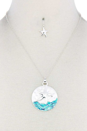 Starfish round pendant necklace-id.cc50868