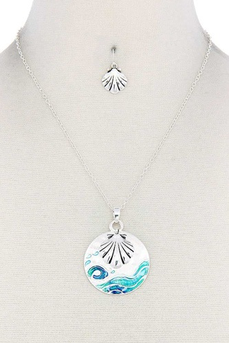 Seashell round metal pendant necklace-id.cc50869