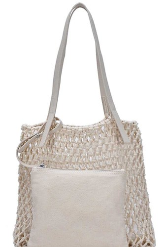2in1 modern chic string woven tote bag-id.cc50891