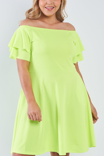 Plus size off the shoulder tiered sleeves midi dress-id.cc50893