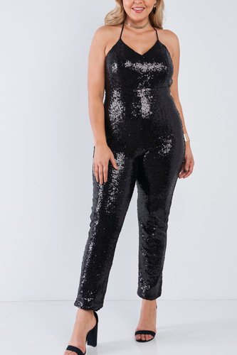Plus size sequin v-neck criss cross open back bodycon jumpsuit-id.cc50899