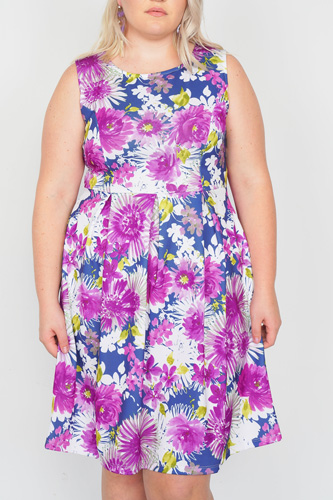 Plus size purple navy watercolor floral print casual midi dress-id.cc50901