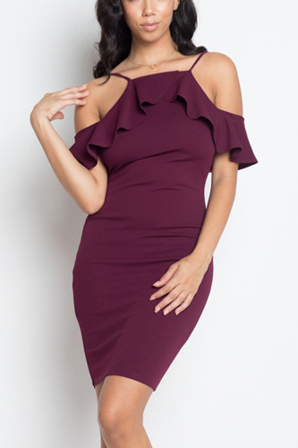 Ruffle open shoulder halter dress-id.cc50907e