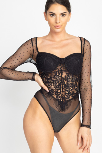 Sheer mesh polka dot & lace bodysuit-id.cc50909