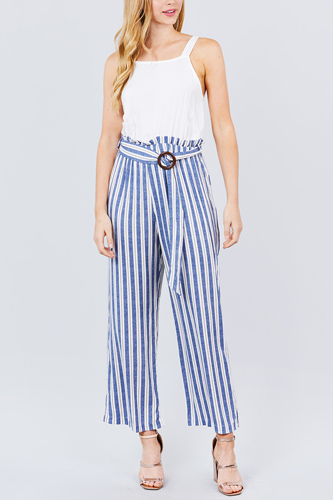 Straight neck waist belted stripe long jumpsuit-id.cc50913