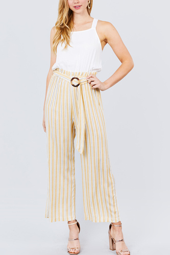 Straight neck waist belted stripe long jumpsuit-id.cc50913a